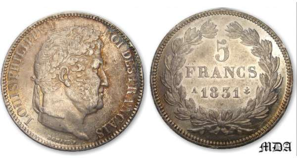 5 francs Louis-Philippe Ier tte laure - 1er type tranche en relief 1831 A (Paris)