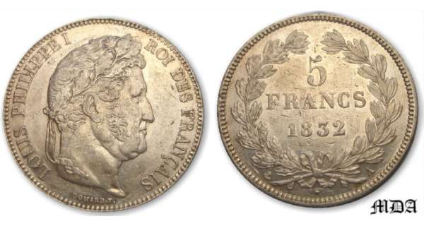 5 francs Louis-Philippe Ier tte laure - 2me type - 1832 A (Paris)