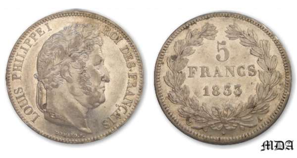 5 francs Louis-Philippe Ier tte laure - 2me type - 1833 A (Paris)