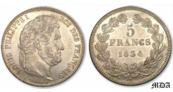 5 francs Louis-Philippe Ier tte laure - 2me type - 1834 K (Bordeaux)