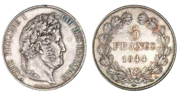 5 francs Louis-Philippe Ier tte laure - 3me type 1844 A (Paris)