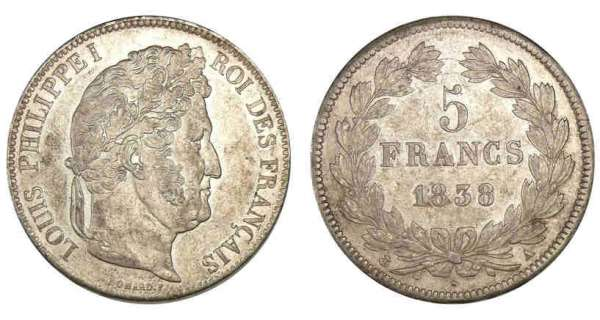 5 francs Louis-Philippe I tte laure 2me type 1838 A (Paris)