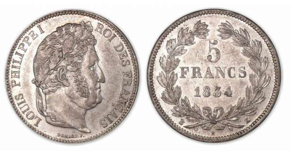 5 francs Louis-Philippe I tte laure 2e type 1834 K (Bordeaux).