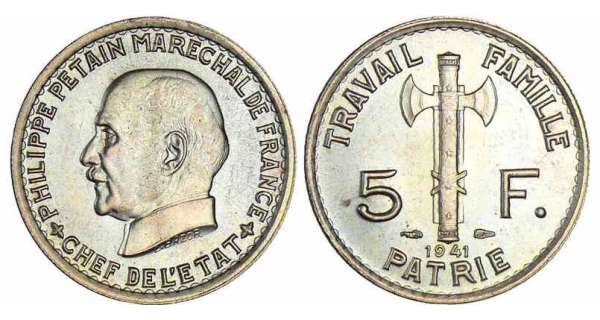 5 francs maréchal Pétain - 1941
