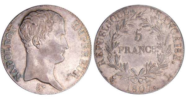 5 francs Napolon empereur - 1807 L (Bayonne)