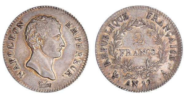 2 francs Napolon empereur - An 12 A (Paris)