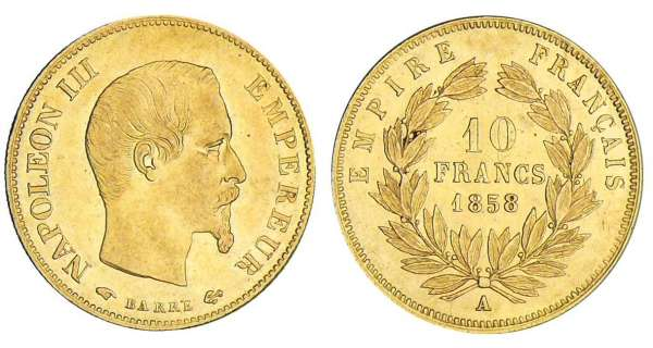 10 francs Napoléon III  grand module - 1858 A (Paris)
