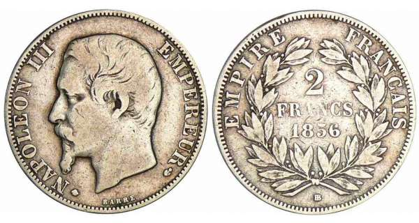 2 francs Napolon III tte nue - 1856 BB (Strasbourg)