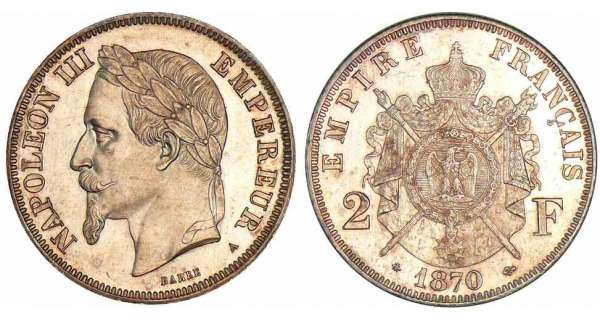 2 francs Napolon III tte laure - 1870 A (Paris)