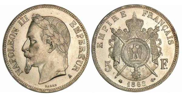 5 francs Napolon III tte laure - 1868 A (Paris)