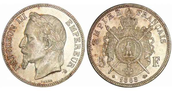 5 francs Napolon III tte laure - 1868 BB (Strasbourg)