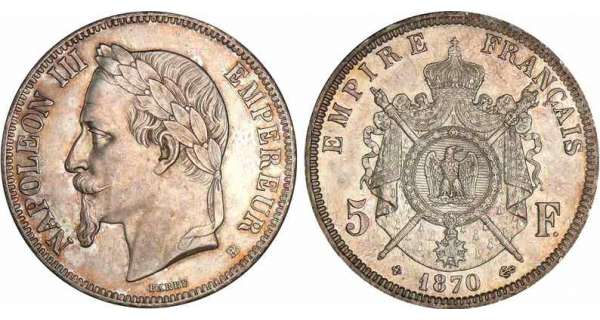 5 francs Napolon III tte laure - 1870 BB (Strasbourg)