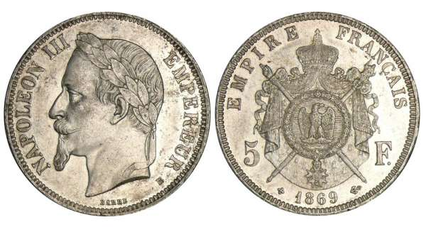 5 francs Napolon III tte laure - 1869 BB (Strasbourg) petit BB