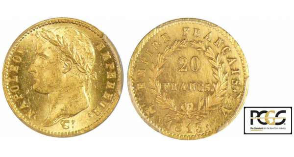 20 francs Napoléon revers empire - 1813 A (Paris)