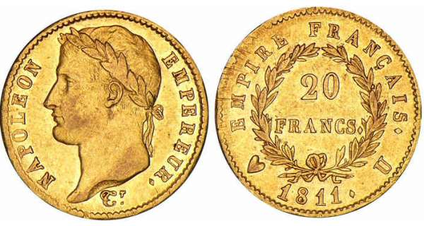 20 francs Napoléon revers empire - 1811 U (Turin)