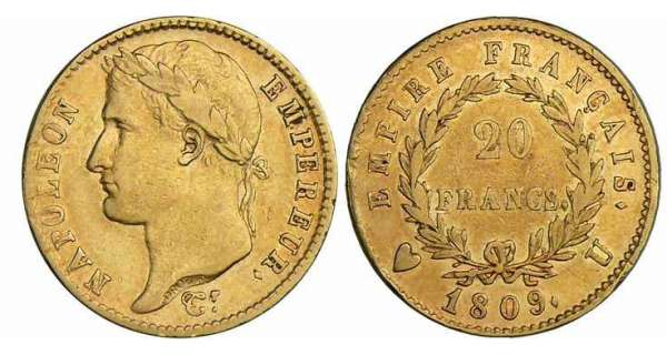 20 francs Napolon revers empire - 1809 U (Turin)
