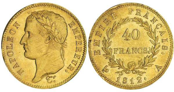40 francs Napolon revers empire - 1812 A (Paris)