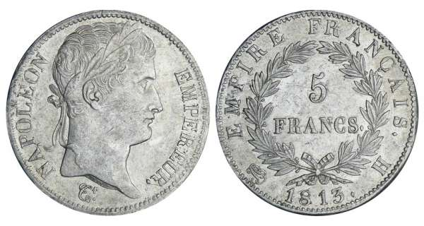5 francs Napolon revers empire - 1813 H (La Rochelle)