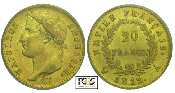 20 francs Napolon revers empire - 1812 A (Paris)