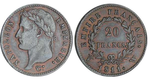 20 francs Napolon revers empire - 1811 W (Lille) preuve en tain bronz