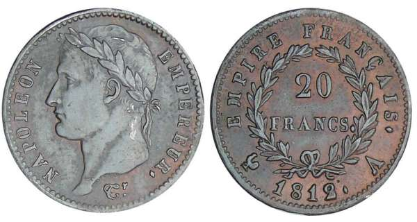 20 francs Napolon revers empire - 1812 A (Paris) preuve en tain bronz