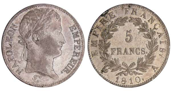 5 francs Napolon revers empire - 1810 A (Paris)