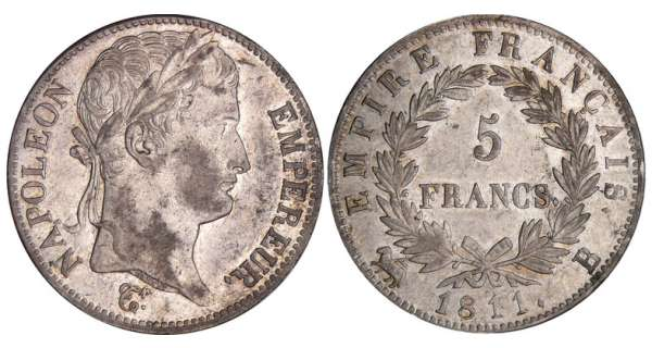 5 francs Napolon revers empire - 1811 B (Rouen)