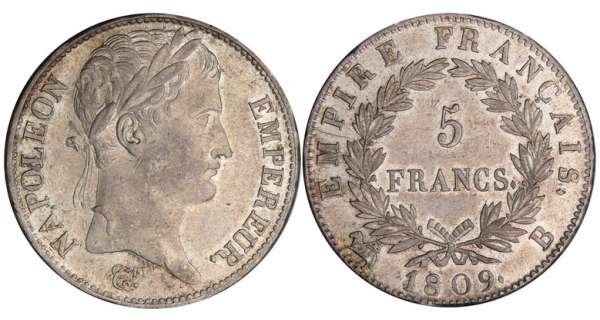 5 francs Napolon revers empire - 1809 B (Rouen)