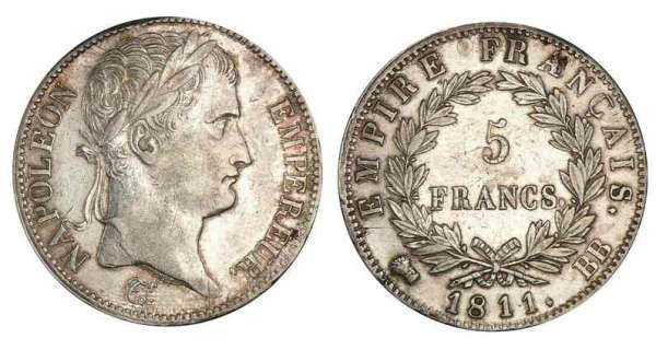 5 francs Napolon revers Empire 1811 BB (Strasbourg)