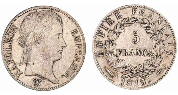 5 francs Napoléon revers empire 1813 (Utrecht)