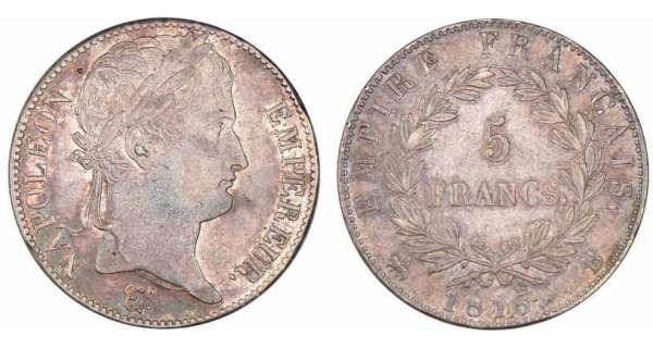 5 francs Napoléon revers empire 1815 B (Rouen)