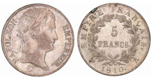 5 francs Napoléon revers empire 1810 A (Paris)