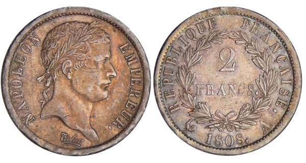 2 francs Napolon revers rpublique - 1808 A (Paris)