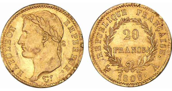 20 francs Napoléon revers république 1808 A (Paris)