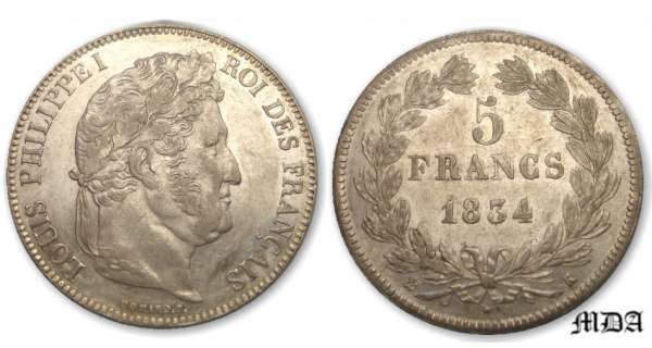 5 frs Louis-Philippe I tte laure 2e type 1834 K (Bordeaux)