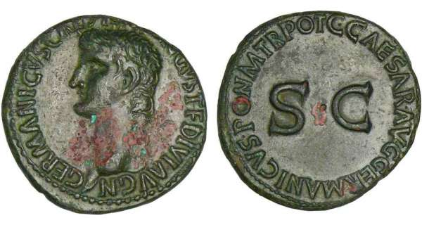Germanicus - As (37-38, Rome) - Restitution de Caligula A/ GERMANICVS CAESAR TI AVGVST F DIVI AVG N. Tête nue de Germanicus à gauche. R/ C CAESAR AVG GERMANICVS PON M TR POT. Grand SC.