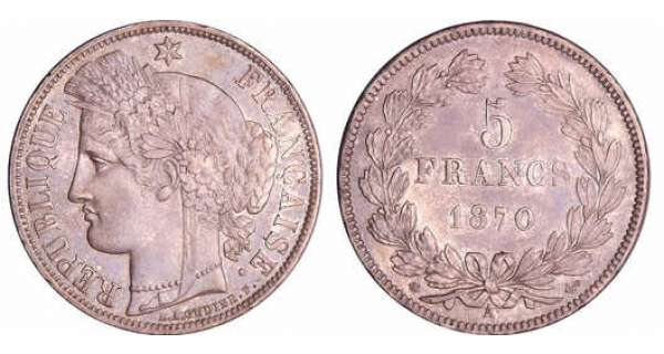 Gouvernement de défense nationale (1870-1871) - 5 francs Cérès sans légende 1870 A (Paris)