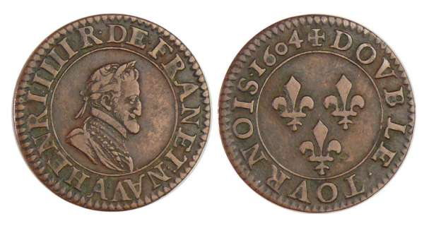 Henri IV (1589-1610) - Double tournois - 1604 A (Paris)