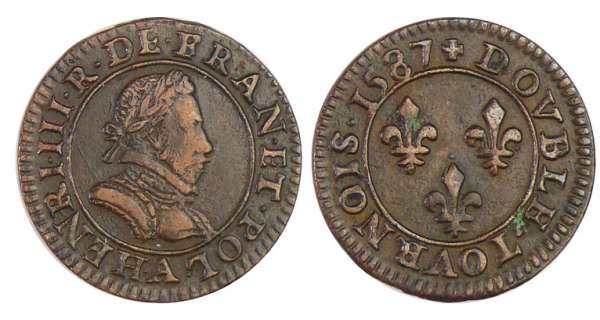 Henri III (1574-1589) - Double tournois - 1587 A (Paris)