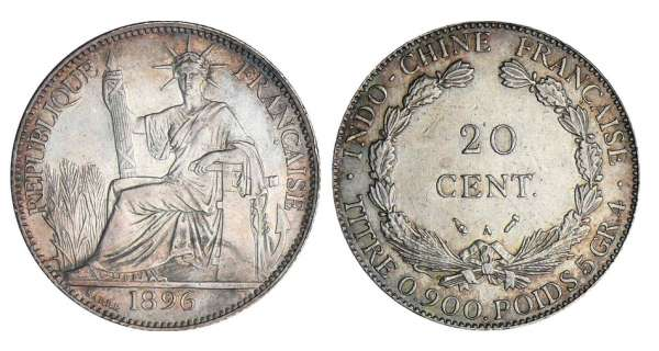 Indochine - 20 cent - 1896 A (Paris) torche
