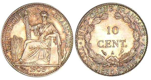 Indochine - 10 cent 1908 A (Paris)