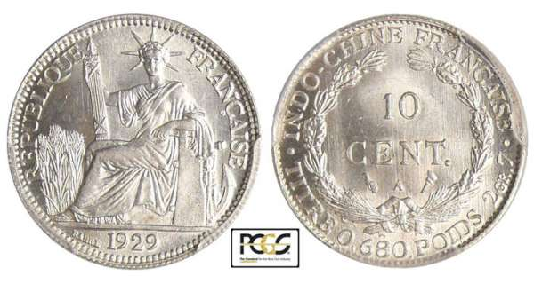 Indochine - 10 cent 1929 A