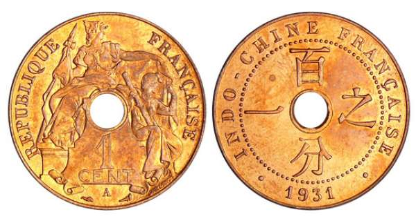 Indochine - 1 cent 1931 A (Paris) torche