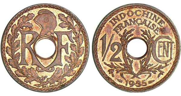 Indochine - 1/2 cent 1935