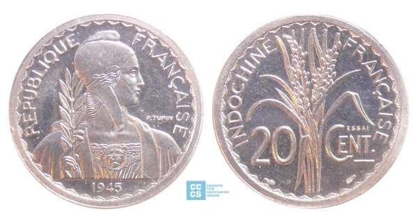 Indochine - 20 cent 1945 essai piéfort