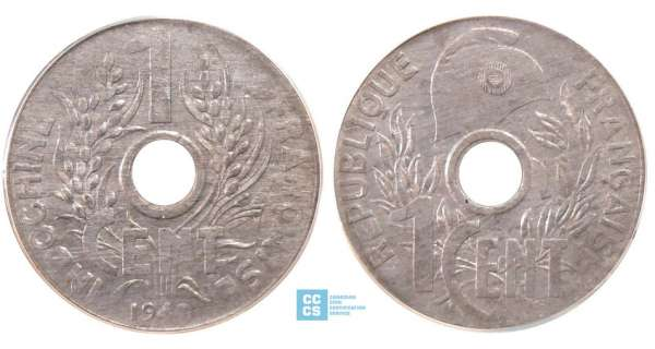 Indochine - 1 cent cocarde 1940
