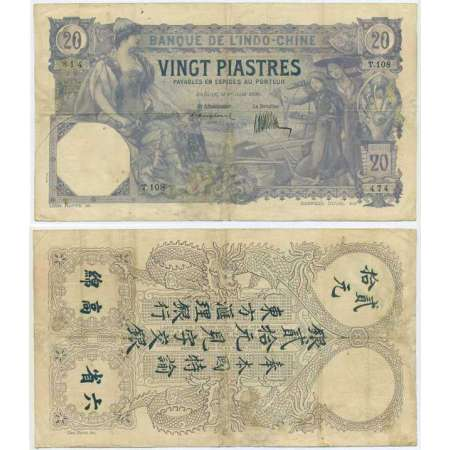 Indochine - 20 piastres - 1 août 1920