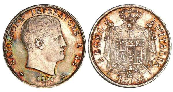 Italie - Rgne d'Italie - 2 lire 2me type - Tranche en creux - 1809 M (Milan)