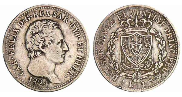 Italie - Rgne de Sardaigne - Carlo Felice - 1 lira 1824 (Turin)