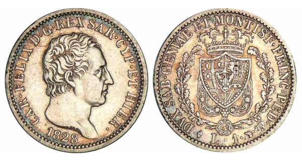 Italie - Rgne de Sardaigne - Carlo Felice - 1 lira 1828 (Turin)